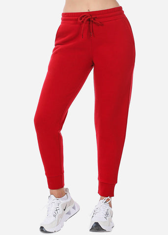Image of Red High Waist Jogger Sweatpants
