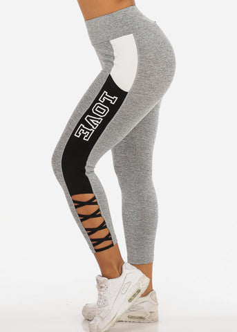Image of Women's Activewear Training Work Out Stretchy Running Yoga  High Waisted Black And Light Grey Cropped Capris Love Graphic Leggings Pants W Criss Cross Sides