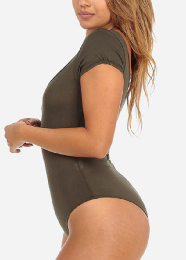 Basic Short Sleeve Olive Bodysuit
