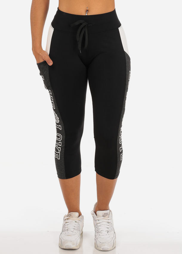 Charcoal Love Print  Black Capri Leggings