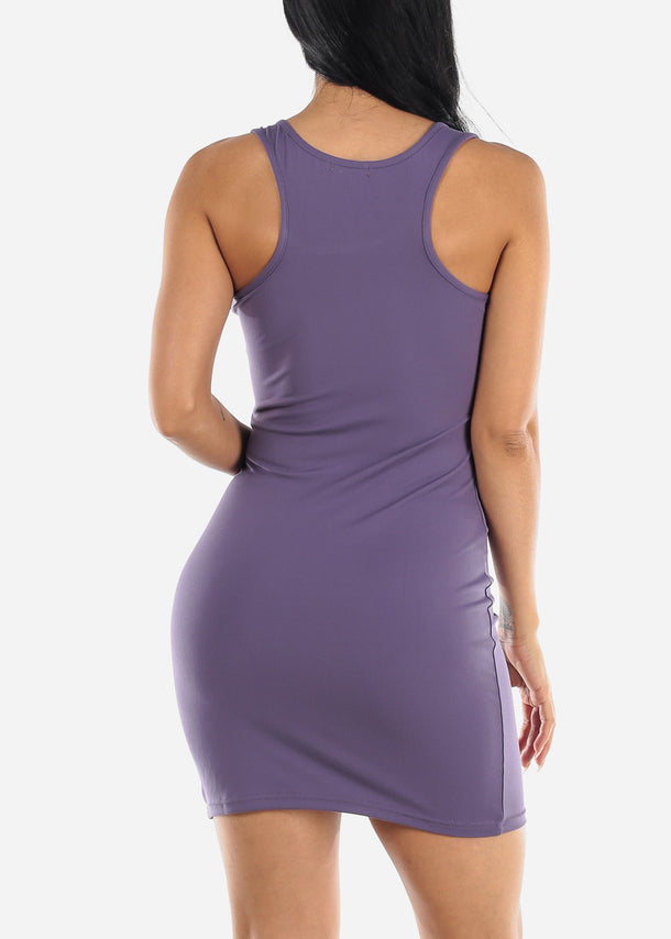 Purple Bodycon Racerback Dress