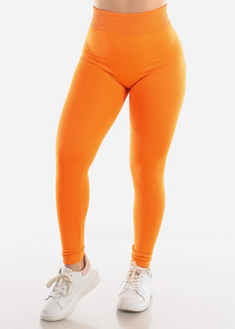 Activewear Orange Fleece Leggings