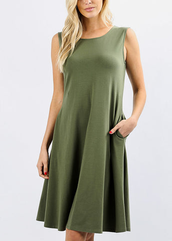 Sleeveless Light Olive Classic A-Line Dress