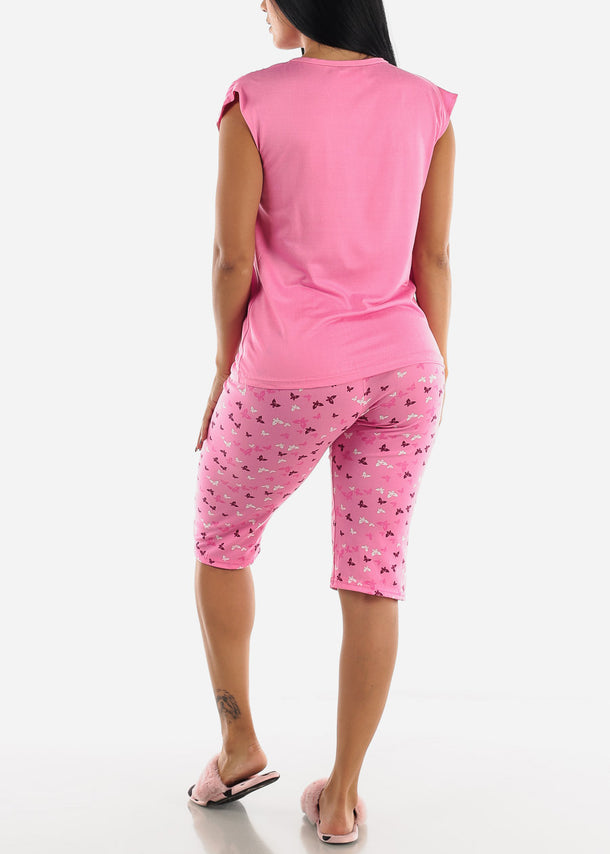 Pink Butterfly Printed Top & Capris (2 PCE PJ SET)