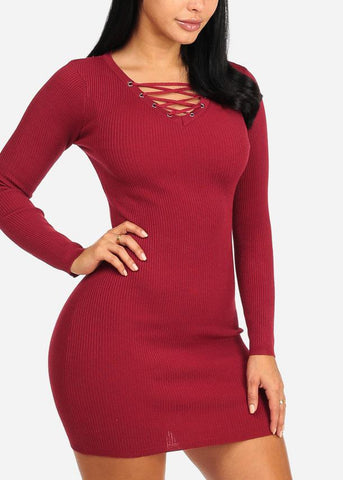 Cheap Red Lace Up Mini Knitted Dress