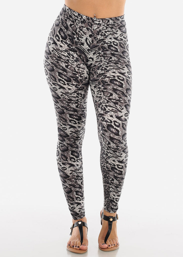 Jaguar Print Charcoal Leggings L138CHRC