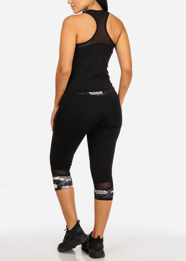 Activewear Print Sleeveless Top And High Rise Leggings W Mesh Detail (2PCE SET)