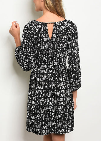 Image of Fit And Flare Printed Black Dress