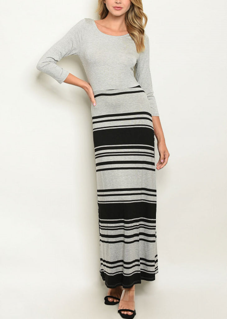 3/4 Sleeve Stripe Grey Maxi Dress