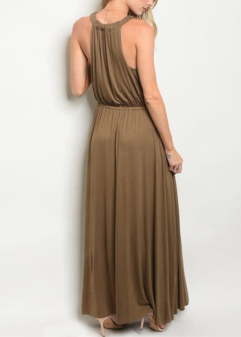 Image of Drape Neckline Olive Maxi Dress