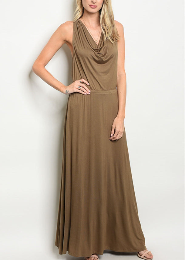 Drape Neckline Olive Maxi Dress