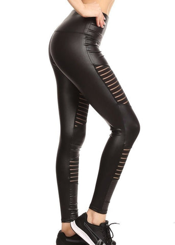 Image of Black Moto Style Pleather Leggings