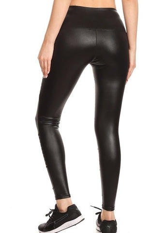 Black Moto Style Pleather Leggings