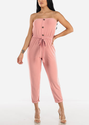 Image of Buttons Front Strapless Mauve Jumpsuit