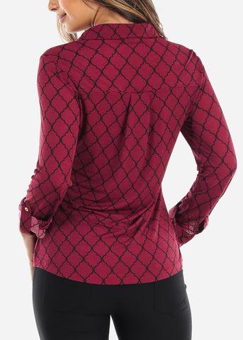 Image of Burgundy Quatrefoil Blouse
