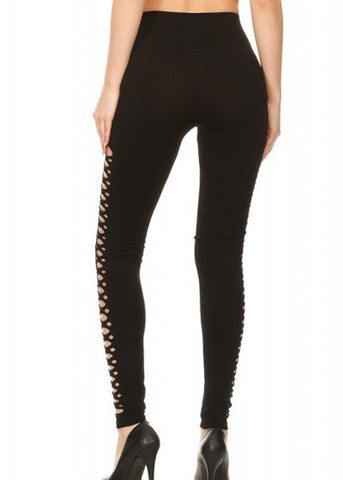 Black Side Cutout Seamless Leggings