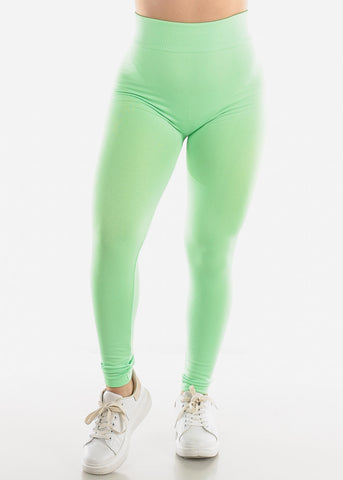 Image of Activewear Lime Green Fleece Leggings