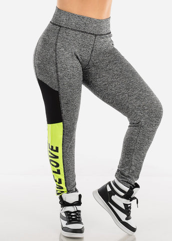 "Activewear Plus Size Grey Leggings ""Love"""