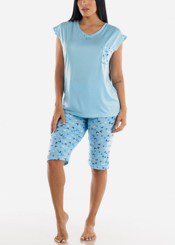 Light Blue Butterfly Printed Top & Capris (2 PCE PJ SET)