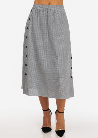 Image of Casual White Plaid Print Button Up Sides Trendy Retro Fit And Flare Long Maxi Skirt
