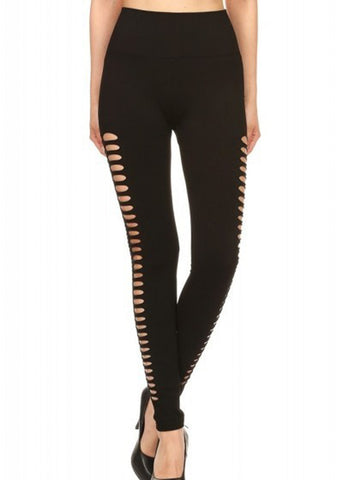 Image of Black Double Side Cutout Seamless Leggings