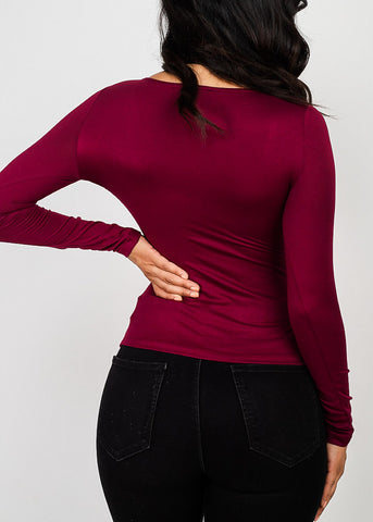 Image of Sweetheart Neck Burgundy Knot Top