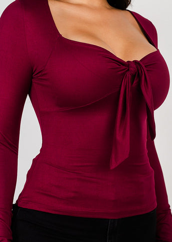 Sweetheart Neck Burgundy Knot Top