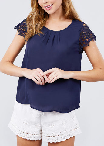 Image of Scallop Lace Sleeve Navy Blouse