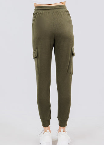 High Waisted Olive Cargo Jogger Pants