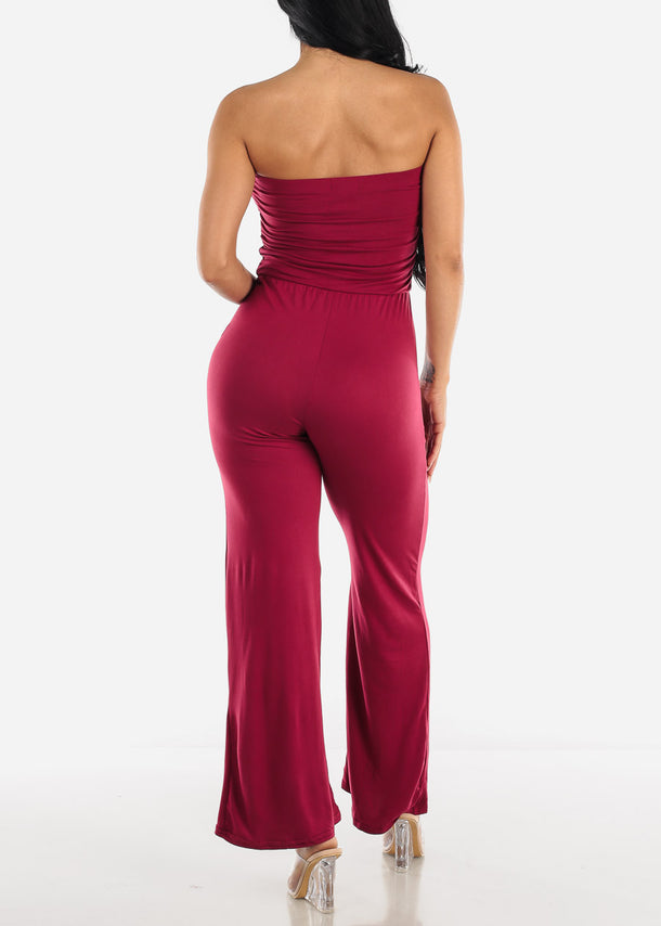Wide Legged Strapless Burgundy Jumpsuit
