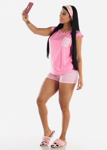 Pink Printed Top & Shorts (2 PCE PJ SET)