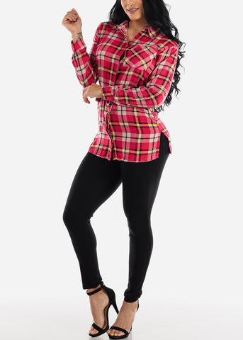 Half Button Up Red Plaid Top