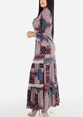Image of Multicolor Printed Crop Top & Maxi Skirt (2 PCE SET)