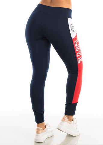 "Activewear Red & Navy Leggings ""Love"""
