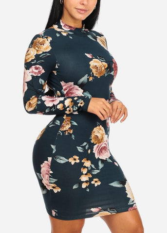 Teal Color Floral Print Bodycon Dress