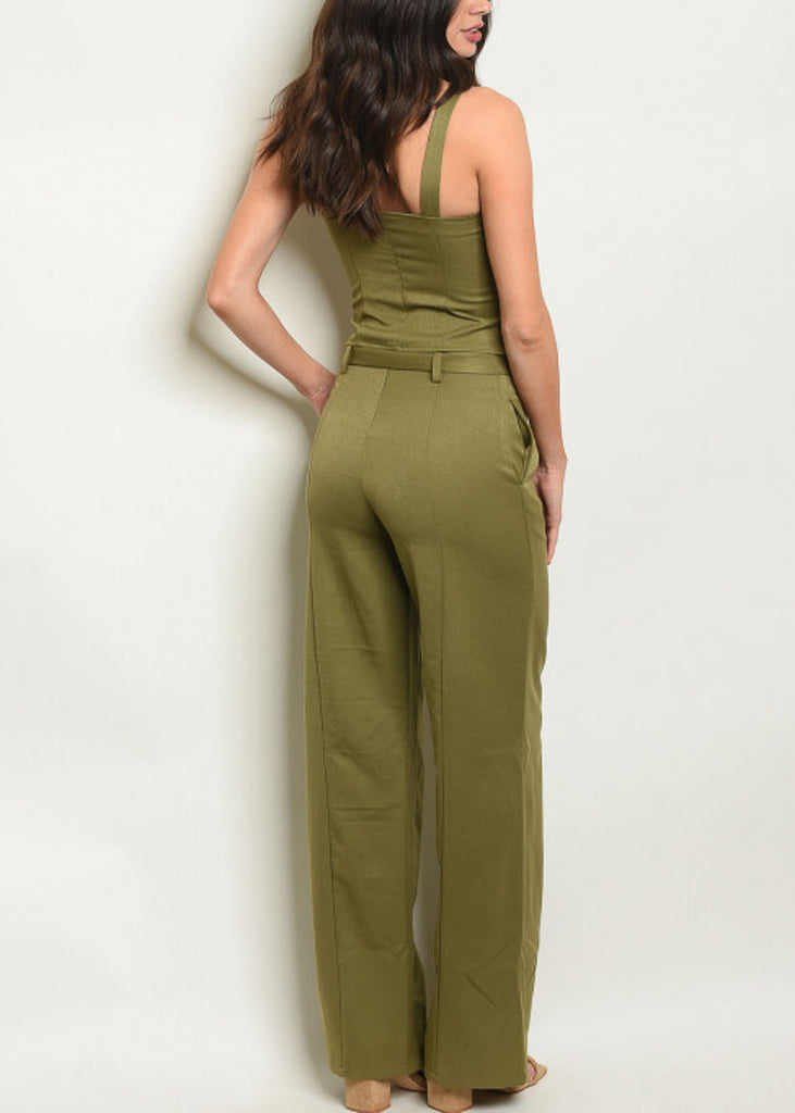 Olive Top & Wide Legged Pants (2 PCE SET)