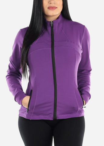 Image of Activewear Purple Zip Up Jacket