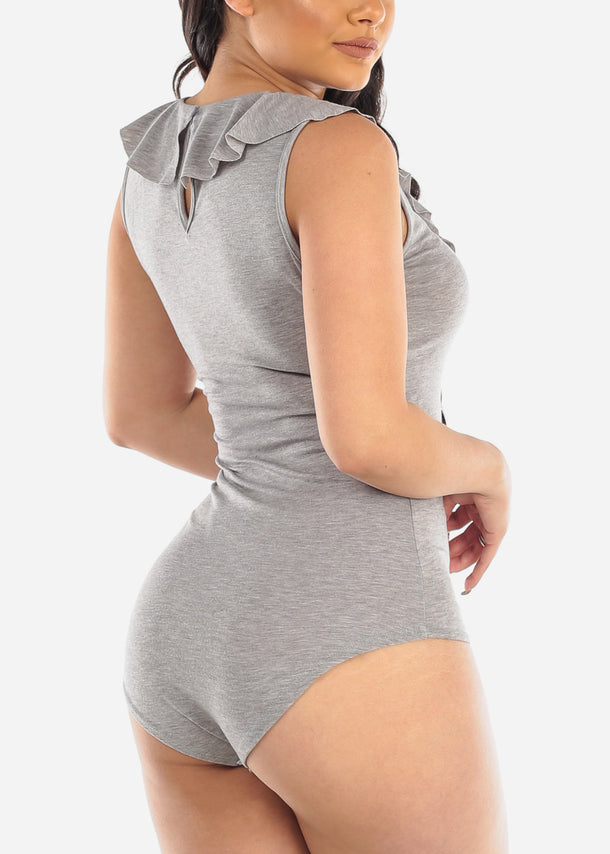 Grey Ruffled Bodysuit