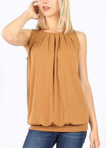 Camel Pleated Top W Waistband
