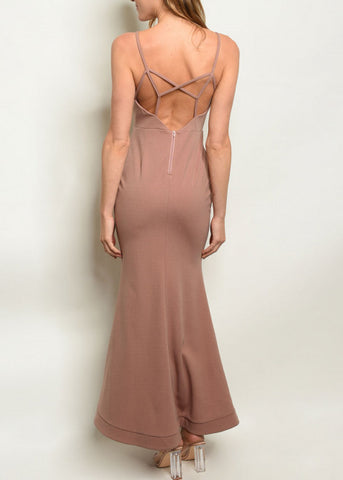 Sleeveless Mauve Mermaid Maxi Dress