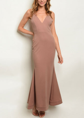 Image of Sleeveless Mauve Mermaid Maxi Dress