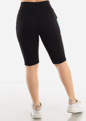 Image of Black & Teal Activewear Shorts
