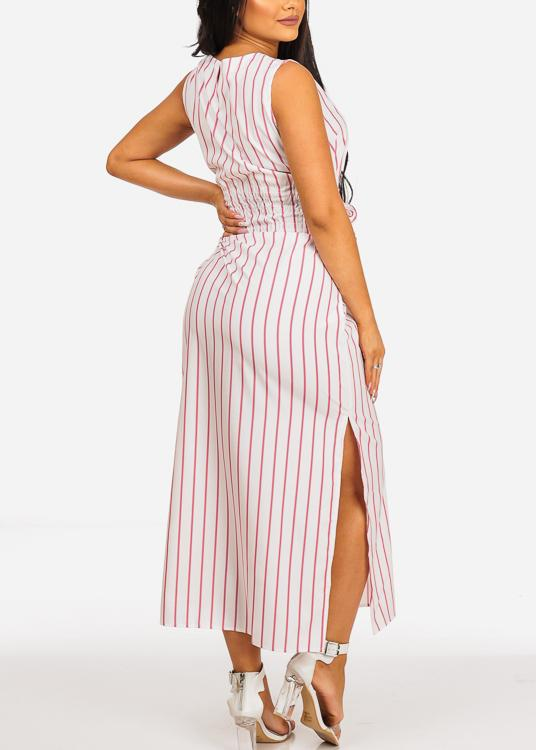 White Stripe Sleeveless Maxi Dress