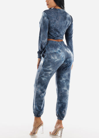 Navy Tie Dye Crop Top & Jogger Pants ( 2 PCE SET)