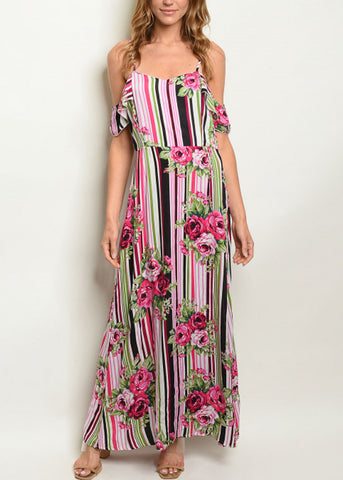 Cold Shoulder Floral & Stripe Maxi Dress