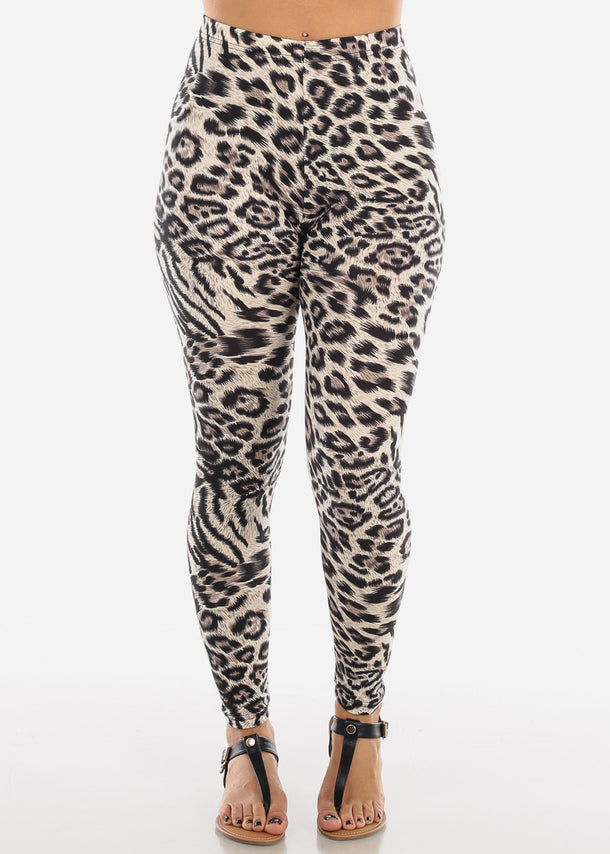 Cream Leopard Print Leggings