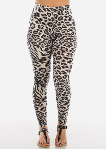 Image of Cream Leopard Print Leggings L138BLKCRM