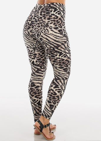 Cream Leopard Print Leggings L138BLKCRM