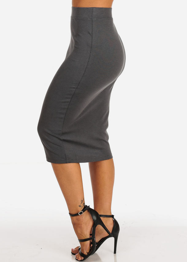 Charcoal High Rise Pencil Skirt