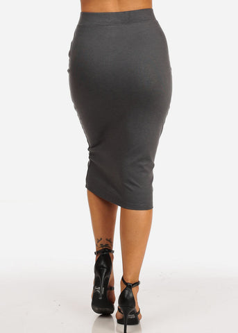 Office Business High Waisted Charcoal Pencil Midi Skirt